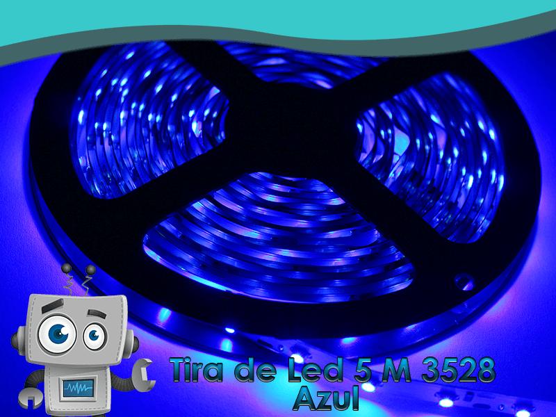 Tira de led color azul tipo 3528 5m interior app tek for Tiras led de colores