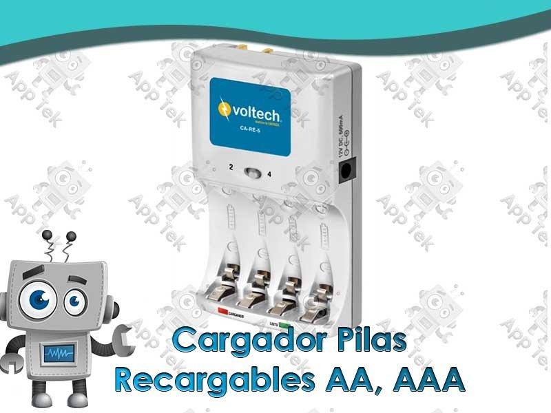 Cargador pilas recargables aa aaa app tek - Pilas recargables aaa ...